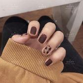 豹紋假指甲貼片甲片女成品磨砂短款抖音網紅同款穿戴可拆卸美甲貼