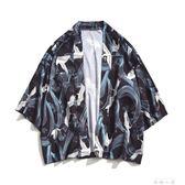 中國風道袍防曬外套七分袖情侶款日系日式和風唐裝男和服寬鬆薄款    米娜小鋪