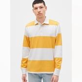 Gap男裝清爽條紋設計POLO領長袖530941-黃色條紋