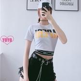 YoYo 短版上衣 性感修身T恤女 顯瘦字母印花短袖上衣 2色(S/M/L)Q1130