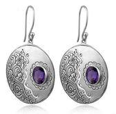 紫水晶圓形耳環 複古雕花個性女士銀飾品禮物