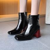 手工真皮女鞋34~40 2020歐美明星款帥氣顯瘦頭層牛皮方頭高跟短靴 馬丁靴 機車靴 ~2色