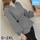 【V2758】shiny藍格子-秋意美序.格紋V領鬆緊腰泡泡袖上衣