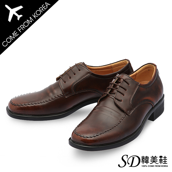 男鞋 韓國空運 仿舊刷色方頭 質感亮面皮革 紳士皮鞋德比鞋【F730367】2色 SD韓美鞋