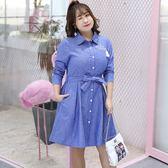 中大尺碼~時尚襯衫領長袖洋裝(XL~4XL)