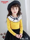 女童長袖T恤秋冬裝新款洋氣純棉加絨加厚兒童打底衫女孩寶寶上衣 嬌糖小屋
