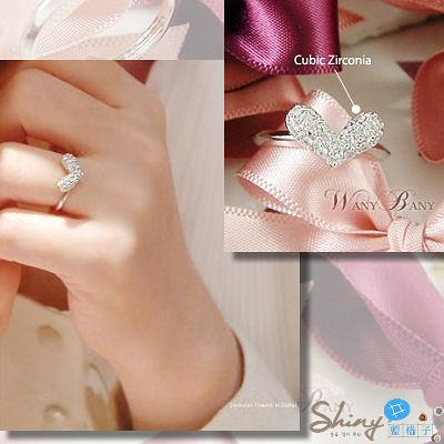 【10A58】shiny藍格子-浪漫微風.閃亮滿鑽愛心造型可調式戒指