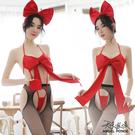 天使波堤【LD0603】大蝴蝶結聖誕禮物情趣內衣裸露誘惑派對連身套裝死庫水網襪吊帶襪三件式-紅色