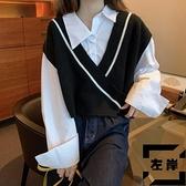 針織馬夾秋季V領短款毛衣馬甲坎肩女白色襯衫外穿背心外套【左岸男裝】