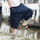 泰國褲子燈籠褲男寬鬆亞麻哈倫褲