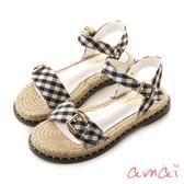 amai 鉚釘扣環草編涼鞋 格紋