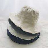 漁夫帽 素色 亞麻 荷葉邊 可折疊 布帽 盆帽 遮陽帽 漁夫帽【CF081】 ENTER  08/08