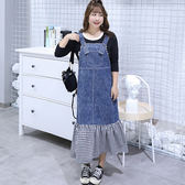中大尺碼~俏皮前扣背帶裙(XL~4XL)
