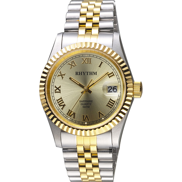 RHYTHM日本麗聲 尊爵羅馬時尚日期手錶-金x雙色/38mm RQ1611S04