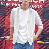 韓版條紋襯衫男士青年襯衣韓版潮流夏季新款七分袖薄款 快速出貨
