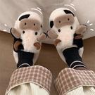 棉拖鞋 細細條 韓版可愛卡通奶牛棉拖鞋女冬ins潮學生家用防滑保暖毛毛鞋 薇薇