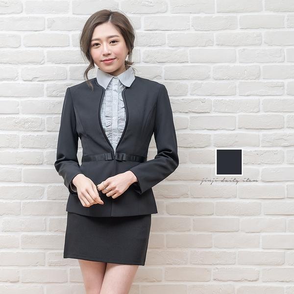 西裝外套職業服/滾黑緞帶無領西裝外套【Sebiro西米羅男女套裝制服】028000832