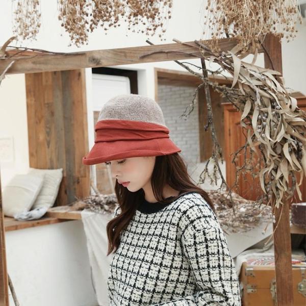 日系優雅風女帽子拼色褶皺設計漁夫帽秋冬保暖羊毛盆帽漁夫帽1入