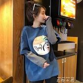 春秋新款女2021年假兩件女裝春季長袖拼接T恤寬鬆韓版上衣服ins潮