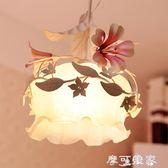 單個頭小吊燈鐵藝韓式田園風格花草花朵創意樓梯間餐廳陽台長吊燈 MKS年終狂歡