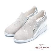 【CUMAR】簡約步調 - 水鑽裝飾內增高懶人休閒鞋(灰色)