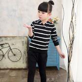 快速出貨 童裝女童褲子 春裝中小童條紋套裝 2018新款兒童 韓版女孩運動褲+連帽長袖 兩件套春秋裝