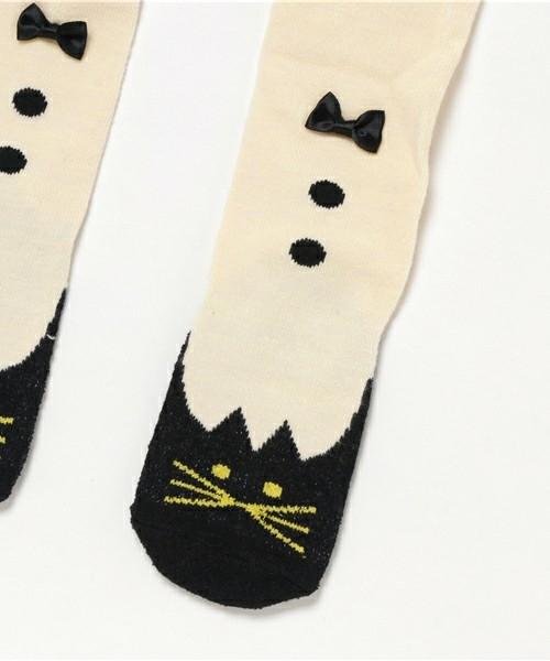 【出清】日本 stample 貓咪褲襪/內搭褲(白色/灰色)~2017秋冬新品