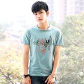 新款男士短袖T恤韓版休閒印花潮流男裝半袖體恤修身男上衣    初語生活