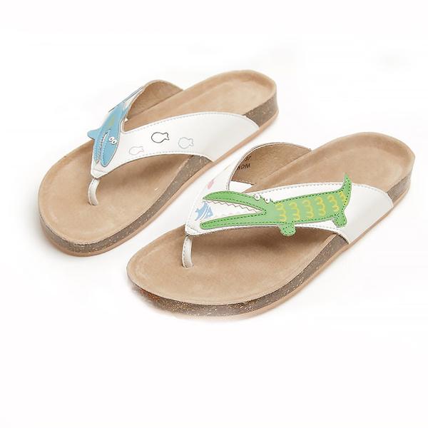 【Jingle】海洋公園夾腳軟木涼鞋(清新白大人款)