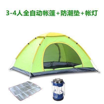 熊孩子❃2秒速開帳篷戶外帳篷自動雙人多人露營野營雙門帳篷(3-4人綠+鋁膜防潮墊+馬燈)