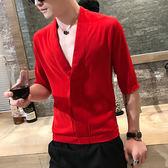 夏季新款青年綢面大V領七分袖襯衫韓版休閒流行男士修身中袖襯衣  巴黎街頭