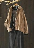 單色燈芯絨夾棉寬鬆夾克棉衣棉服外套/設計家Y8016
