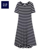 Gap女裝 中長款短袖連衣裙 471405-海軍藍條紋