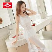 韓版泳衣女三件套罩衫白色比基尼高腰溫泉遮肚鋼托大小胸聚攏泳裝  依夏嚴選