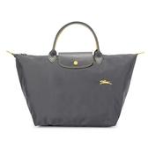 Longchamp Le Pliage刺繡LOGO短提把中型尼龍摺疊水餃包(鐵灰色)480207-300