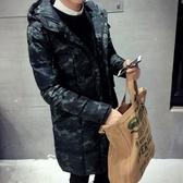 夾克外套-連帽時尚個性迷彩中長版夾棉男外套2色73qa24【時尚巴黎】