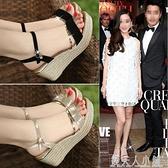 優足達芙妮涼鞋女夏季厚底楔形新款韓版高跟厚底鬆糕鞋女鞋潮