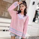 VK精品服飾 韓系毛衣慵懶條紋針織衫長袖上衣