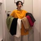 【Charm Beauty】糖果色 短袖T恤 女夏季 韓版 寬鬆 純白色 中長款 上衣T桖 ins潮