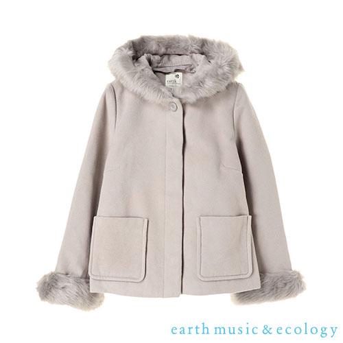 「Hot item」9WAY可拆式毛絨短版外套(毛毛為拆裝式) - earth music&ecology