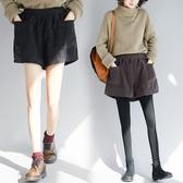 中大碼褲子 秋冬新款胖妹妹寬松純色百搭時髦燈芯絨闊腿大碼顯瘦松緊腰短靴褲
