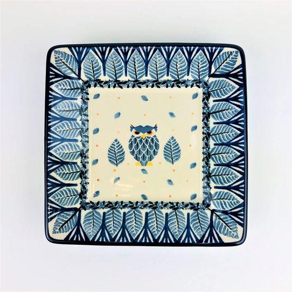 【手工波蘭陶 CA大廠】波蘭陶 15cm 小方盤 分享盤 貓頭鷹
