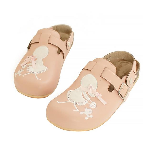 【Jingle】小貴賓與公主前包後空軟木休閒鞋(甜美粉大人款)