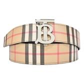 【南紡購物中心】BURBERRY 經典格紋帆布BT金屬扣雙面男士皮帶(卡其x黑)