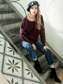 秋冬8折[H2O]前短後長袖上有手縫刺繡休閒風中長版毛衣 - 紅/深藍/淺藍色 #8630028