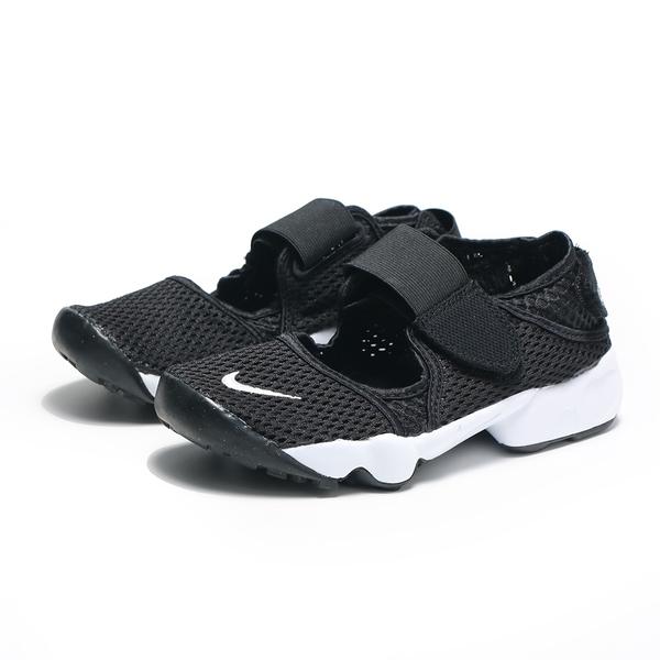 NIKE 忍者鞋 休閒鞋 AIR RIFT GS 黑白 網布 輕量 魔鬼氈 女 (布魯克林) 322359-014