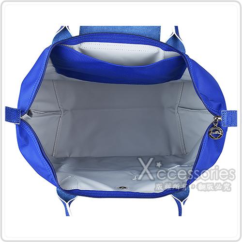 LONGCHAMP COLLECTION刺繡LOGO尼龍摺疊短把拉鍊手提包(中/藍x白)