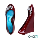 【Oka-B】CLARA水晶裝飾露趾魚口楔型高跟鞋  酒紅色(K1025CL-WIN)