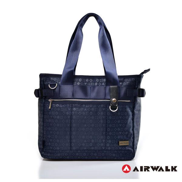 AIRWALK- 【禾雅】邁阿密圖騰 滿版LOGO 防潑水 大容量 萬用筆電公事包/托特包 - 紳士藍
