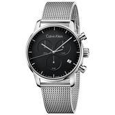 CK CALVIN KLEIN City 都會系列 K2G27121 三眼計時黑面米蘭帶手錶-43mm